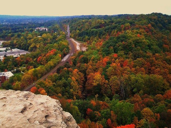 Beautiful Fall colours on display near Tews Falls and the Bruce Trail over looking Dundas, Ontario, Canada