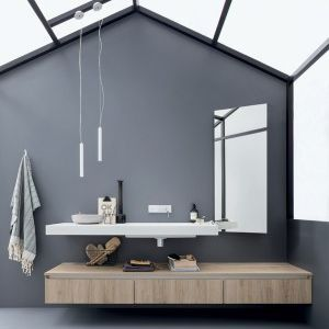 Wall-hung washbasin cabinet / melamine / contemporary / with mirror 45: COMP. 1 Birex