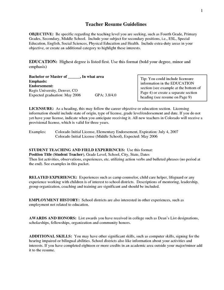 Resume Objective Statement For Teacher Www Resumecareer