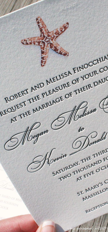Watercolor starfish + letterpress wedding invitations \ MospensStudio.com