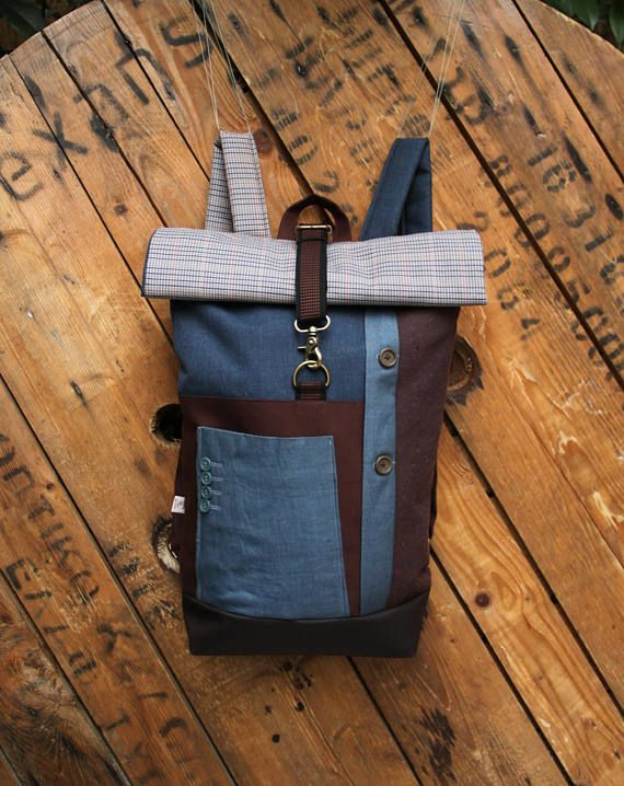 Brown & light blue upcycled roll top rucksack using parts from men's linen suit, by 'eating the goober'
