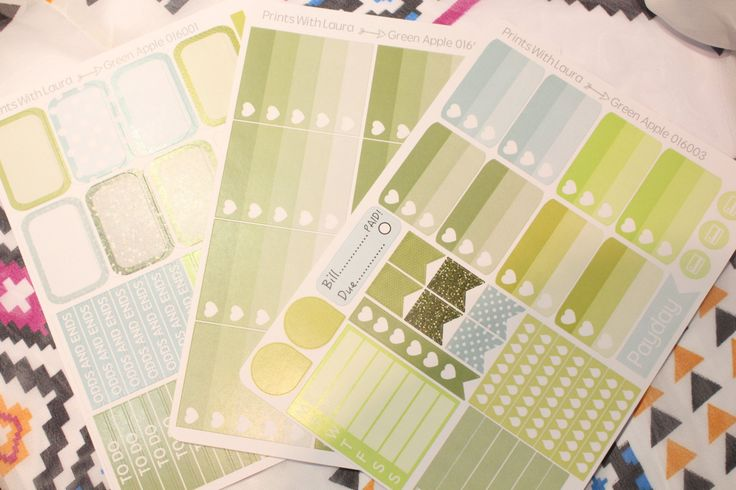 Green Apple Essential Kit    Erin Condren Life Planner Stickers by printswithlaura on Etsy
