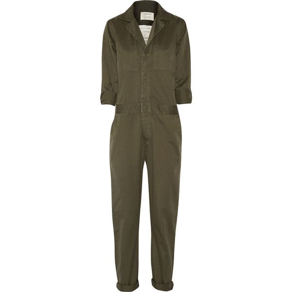 The Mechanic cotton-twill jumpsuit (340 AUD) ❤ liked on Polyvore featuring jumpsuits, jumpsuit, dresses, playsuits, one, one-piece, jump suit, brown romper, brown jumpsuit and playsuit jumpsuit