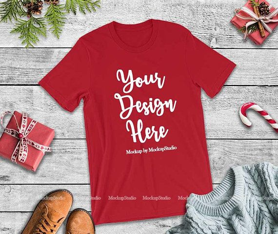 Download Download Free Bella Canvas 3001 Red Christmas T Shirt Mockup Blank Winter Psd Free Psd Mocku Mockup Free Psd Free Psd Mockups Templates Free Packaging Mockup
