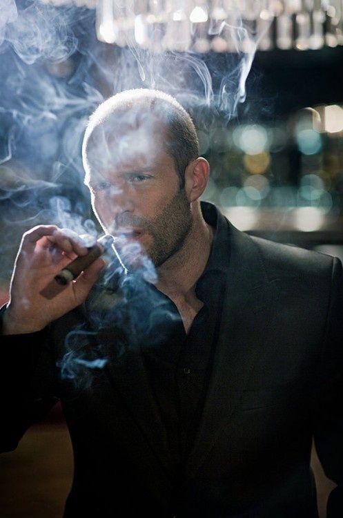 Jason Statham smoking a cigar. Celebrities smoking cigars.