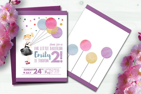 Little Ballerina Digital Printable Kids Birthday Party Invitation