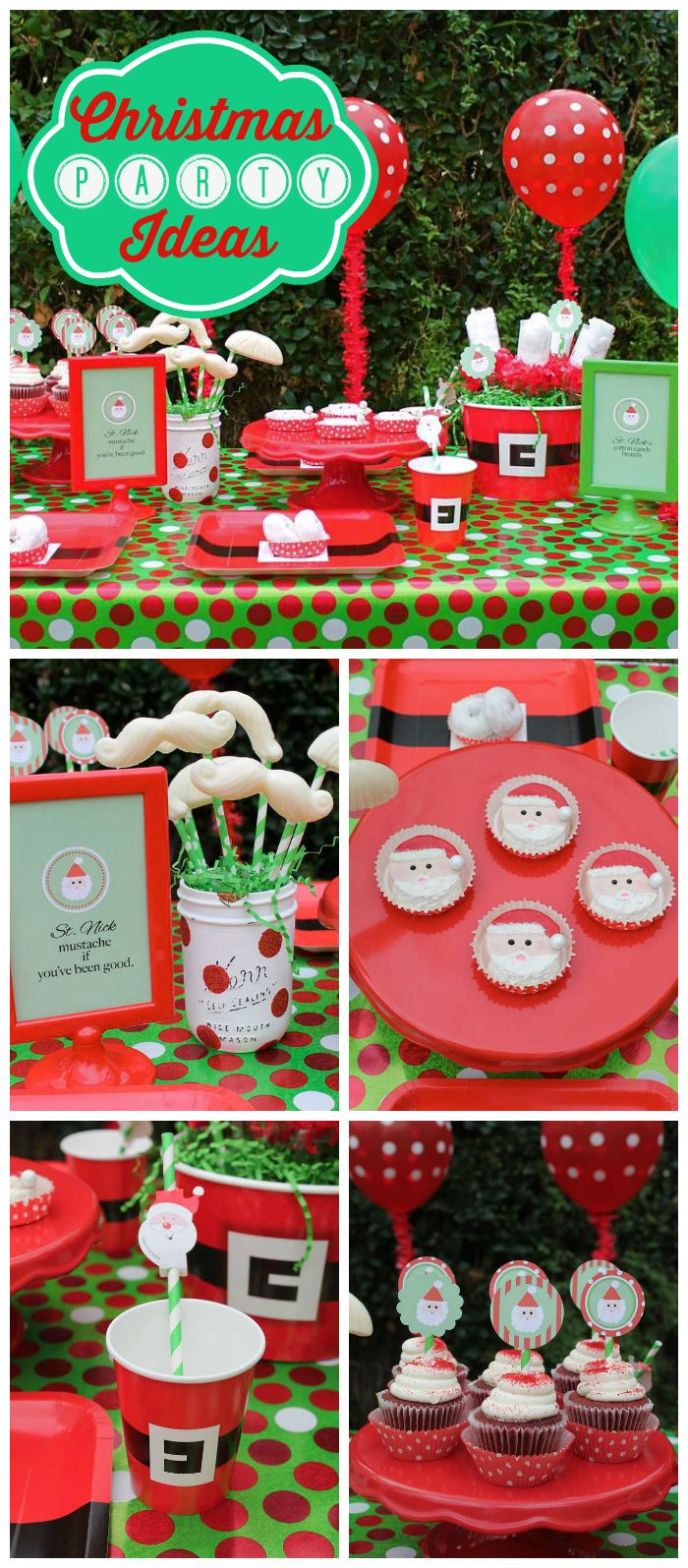 A green, red and white children's Christmas party with chocolate mustaches and decorated Oreos! See more party planning ideas at CatchMyParty.com!