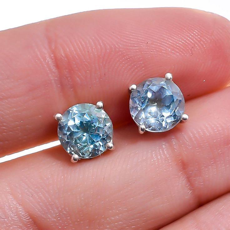 925 Sterling Silver Jewelry Sky Blue Topaz Gemstone Women Stud Earrings #Handmade #Christmas