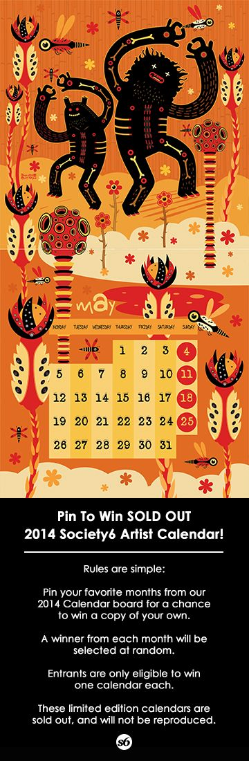 Art by EXIT MAN. Pin for a chance to win a Sold Out 2014 Society6 Artist Calendar.