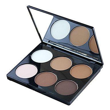 6 kleur 2in1 bronzer&markeren poeder helder&matte make-up cosmetische palet met spiegel - EUR € 10.99