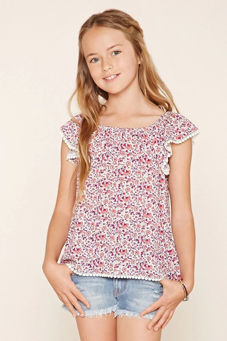 Forever 21 Girls - A woven top with cap sleeves, an elasticized neckline, an allover floral print, and scalloped crochet trim. #f21kids