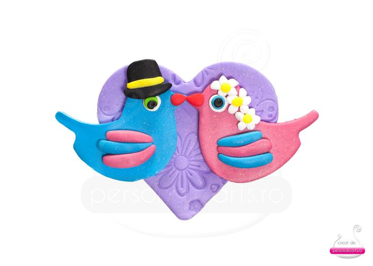 """Love Birds"" - polymer clay wedding favour"