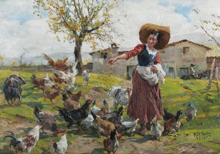 Raffaello Sorbi painting of a young farmer's wife.