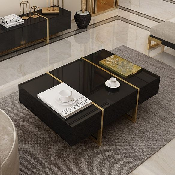Rectangular Coffee Table Black Coffee Table With Drawers Table With Storage Gold Metal In 2020 Black Coffee Tables Drawer Table Coffee Table With Drawers