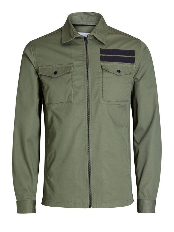 Detailed regular fit long sleeved shirt in dusty olive. Black tape detail above the pocket, made from cotton   JACK & JONES #military #style #menswear #mensfashion