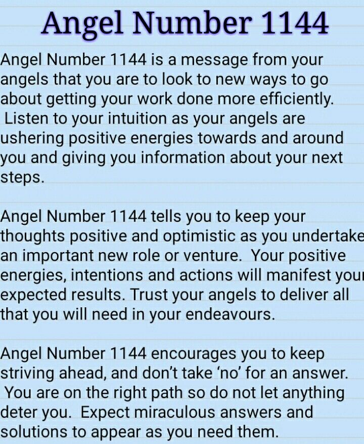 ∆ Numbers... Angel Number 1144