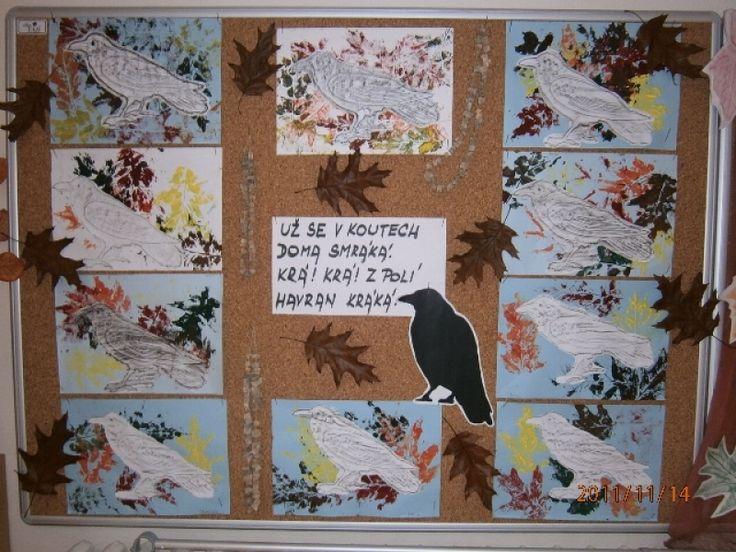 havrani - tisk listů, frotáž havrana