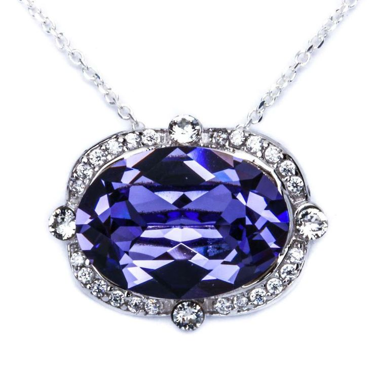 """""""CHAIN IS NOT INCLUDED"""" Item Specifications: Metal Type: Solid Sterling Silver Metal Type: 925 Gemstone Type: Synthetic Tanzanite, Clear CZ Gemstone Cut: Oval, Round Gemstone Color: Tanzanite Gemstone"""