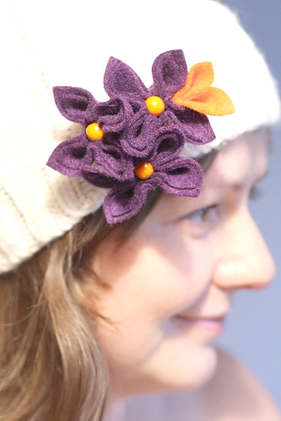 Purple with Orange Flower Brooch by GoodFloristDesign on Etsy, $19.00
