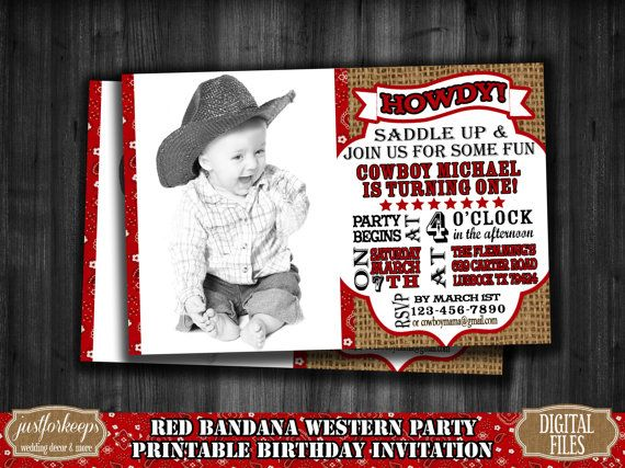 Occidentale compleanno invito stampabile PDF JPEG DIY Cowboy stampabile compleanno invito foto invito Bandana rossa & invito di tela da imballaggio