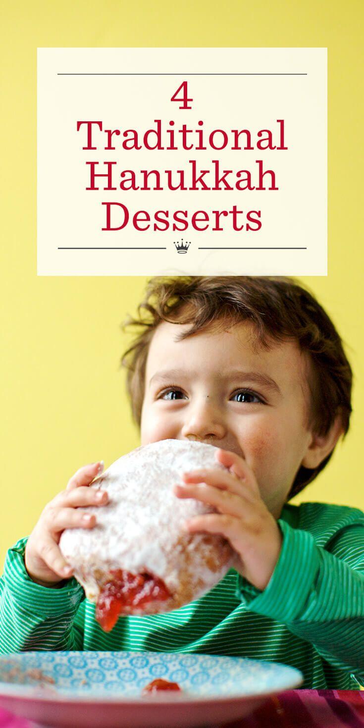 4 Traditional Hanukkah Desserts | Sweeten the celebration with these Hanukkah dessert recipes: Homemade Chocolate Gelt, Chocolate Rugelach, Sufganiyot Jelly Doughnuts and Hanukkah Sugar Cookies.