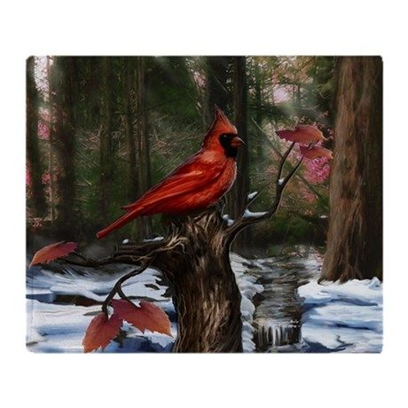 cardinal bird art Throw Blanket on CafePress.com