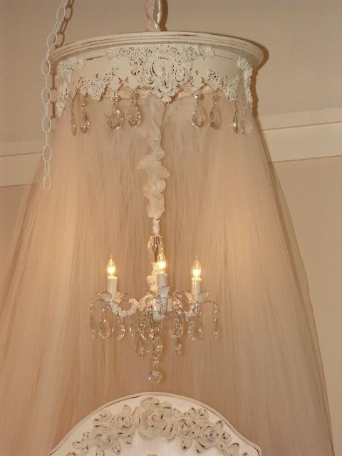 Shabby Chic Mini Chandeliers | Round Bed Crown with Mini Chandelier