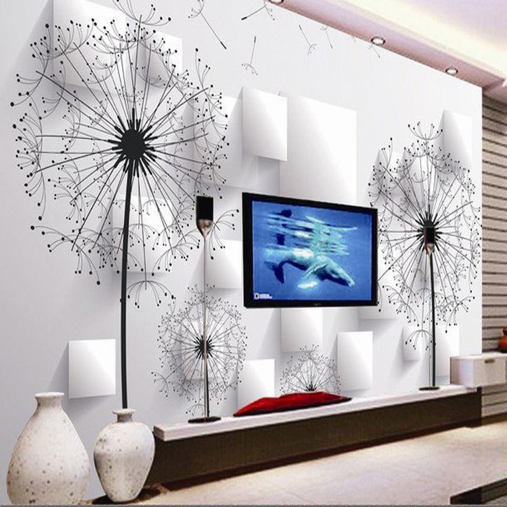 Одуванчик-3d-обои-тв-фоне-обои-для-гостиной-диван-фон-росписи-KTV-номеров-фреска-обоями-украшений.jpg (750×750)