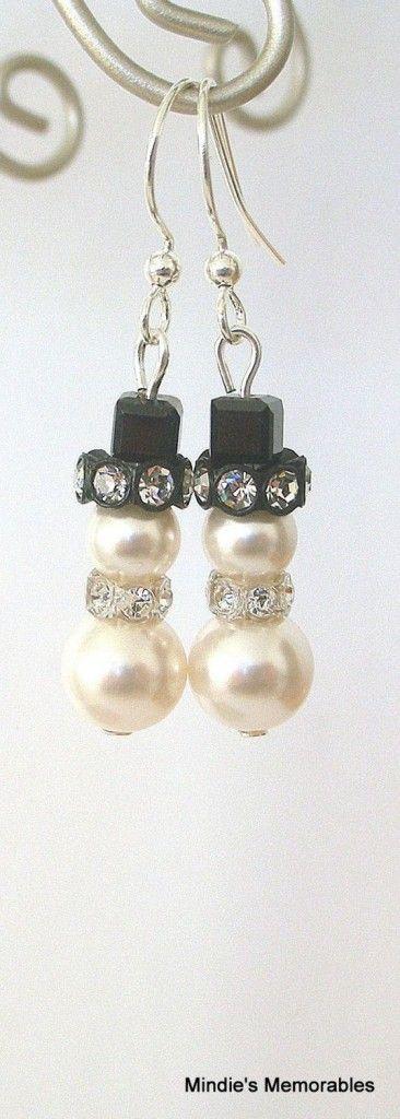 Little snowman earrings, Swarovski pearl and crystal white snowmen earrings from Etsy