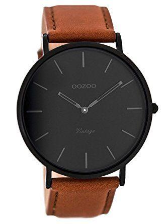 Oozoo Vintage Armbanduhr mit Lederband Cognac/Schwarz 44 mm C8126