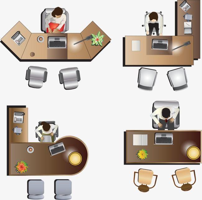 Vector Cartoon Desk Desk Top View Office Table Tops Table Top View