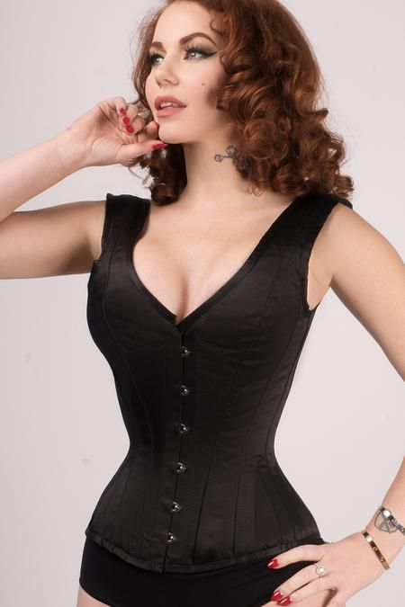 0df8e72833a Classic Waist Taming Black Satin Overbust With Straps