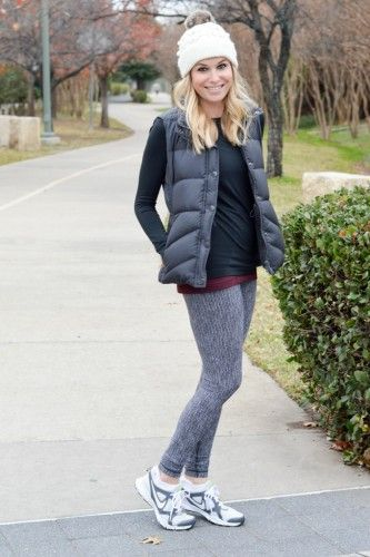 cozy leggings and puffer vest
