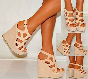 Women Nude Beige Tan Suede Wedges Wedges Summer Strappy Platforms High Heels | eBay