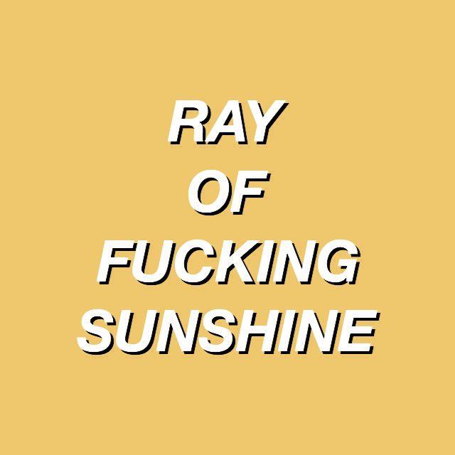 i'm a ray of fucking sunshine ☀️
