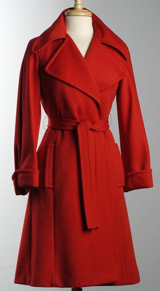 Vintage 1970s Glamorous Red Wrap Trench Coat, Made in Paris France