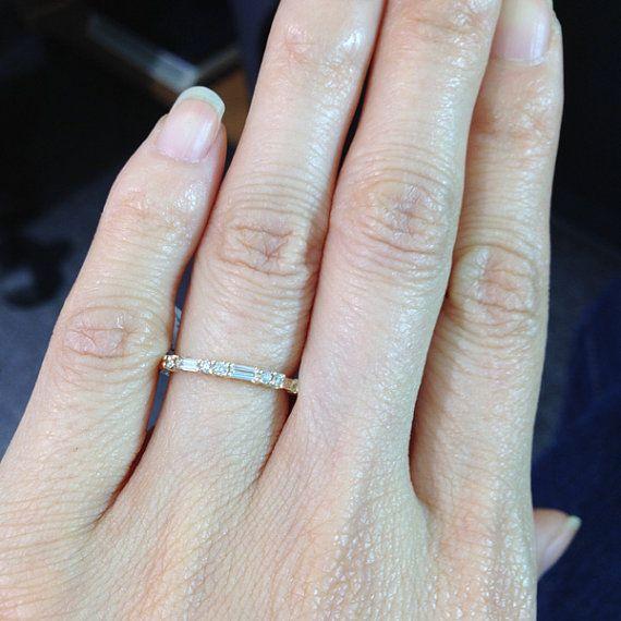 Alliance Baguette et diamants ronds Or Rose par LuxinelleJewelry
