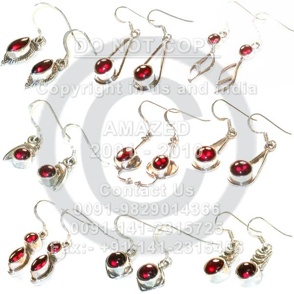 Indian handmade 92.5 Sterling Silver Hallmarked Certified Wholesale natural semi precious studded beautiful handcrafted Earring Garnet used.Our Price80 $USD