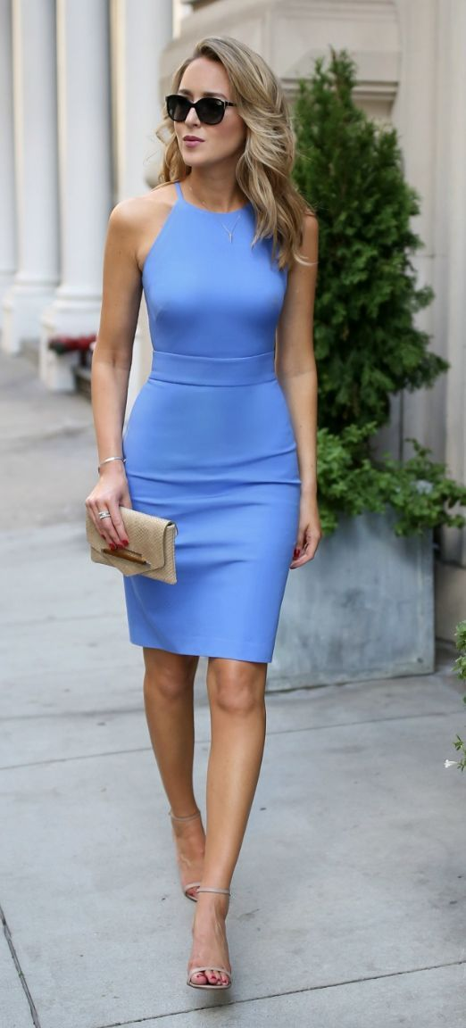 @roressclothes clothing ideas #women fashion blue fitted dress