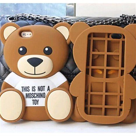 NightKid Süße T-shirt Bären Weiches Silikon hülle (iPhone 4/4S iPhone 6S iPhone 6 Plus iPhone 6 iPhone 5C iPhone 5/5S )(iPhone 6/4.7,Braun)