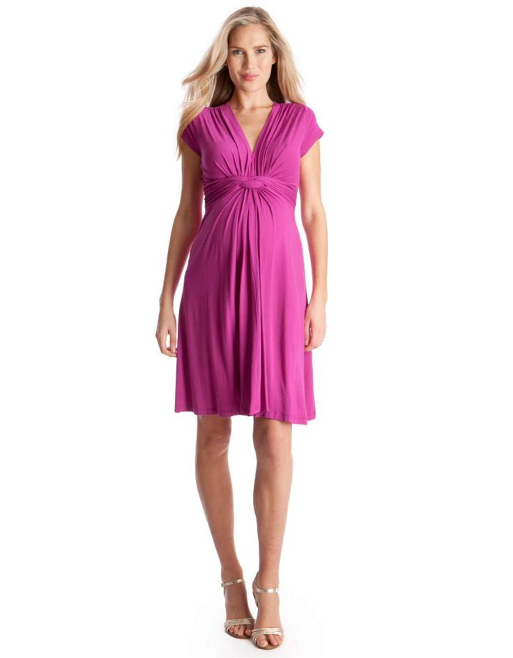 Fuchsia Knot Front Maternity Dress front