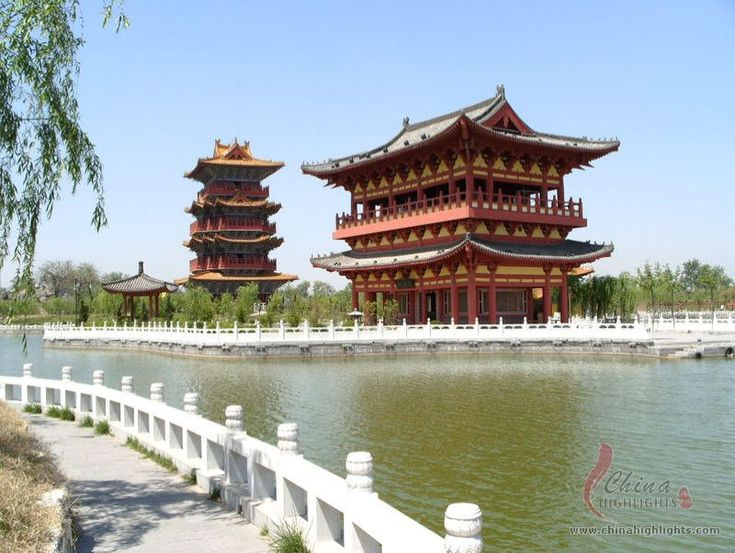 ancient-chinese architecture- multistory pavilion. These pavilions housed multiple families throughout. Yellow was the imperial color, which is why many roofs are yellow.