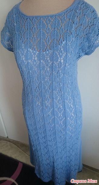 """Платье спицами """"Голубые небеса"""""""