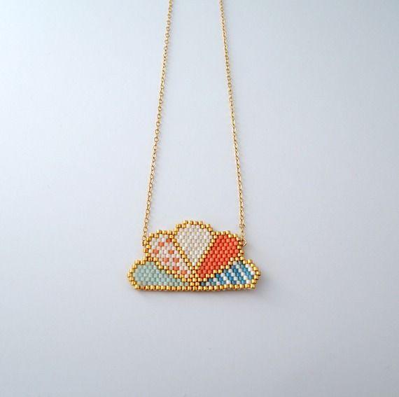 Collier éventail en perles Miyuki ★ or Gold filled ★ corail bleu doré