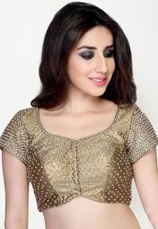 Salwar Studio brings to you this stylish copper coloured blouse, which can be clubbed with a wide range of cotton and printed sarees. This embellished blouse is made from shimmer, which makes it soft against the skin and comfortable to wear all day long.
