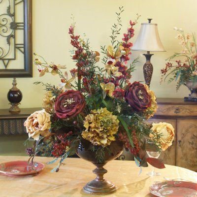 27 best images about silk flower arrangements on pinterest for Dinner table flower arrangements