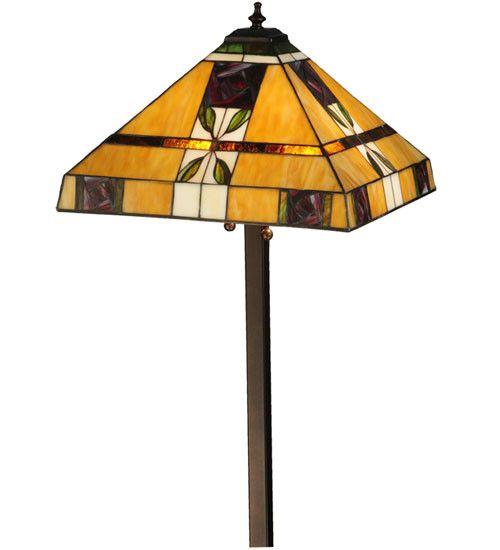 "58.5""H Mackintosh Rose Tiffany Arts & Crafts Floor Lamp"