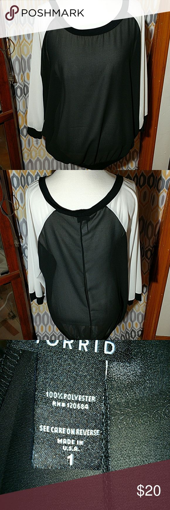 Shear top Cher black and white banded waist top Torrid Tops Blouses