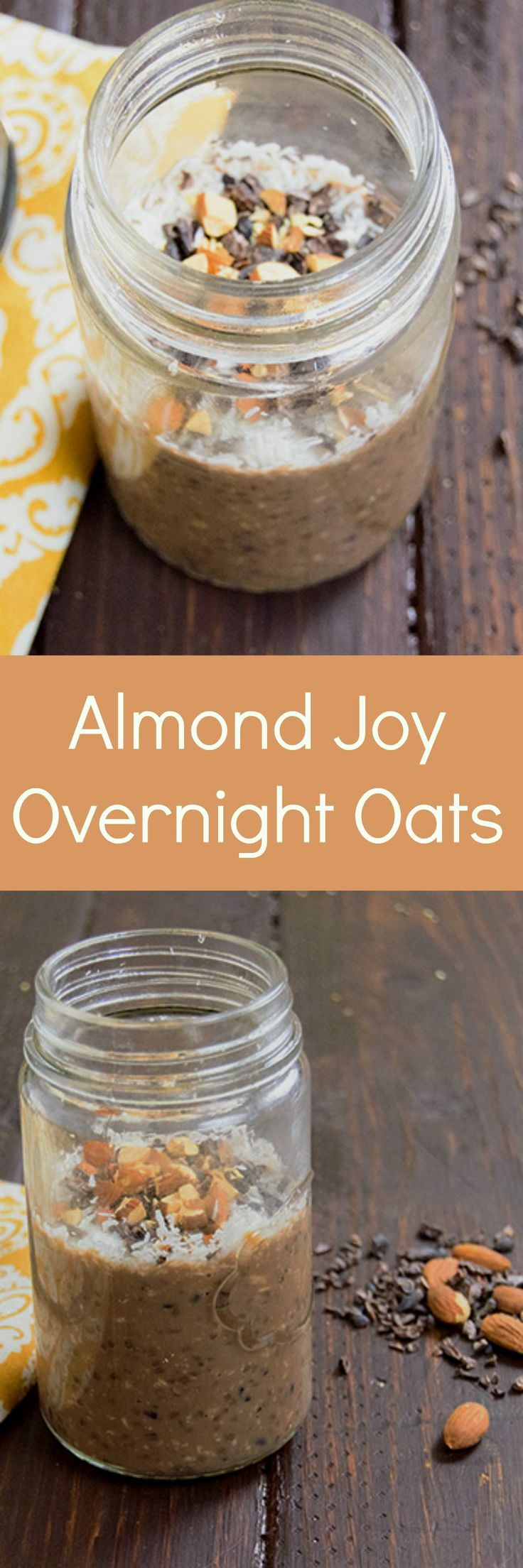 Almond Joy Overnight Oats - you will love staring your day with this easy no cook oatmeal! Packed with protein, gluten free and low fat! This taste just like an almond joy!