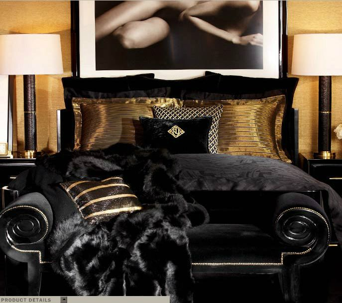 Ralph Lauren Home One Fifth Collection Black And Gold Art Deco Feminine Cat  New York City